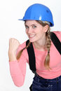 Eager female builder Royalty Free Stock Image
