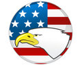 Eagle and American flag Royalty Free Stock Photo