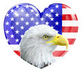 Eagle american love heart america concept with and bald in front of an flag in the shape of a Royalty Free Stock Photos
