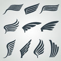 Eagle and angel wings icons. Flight vector heraldic symbols isolated