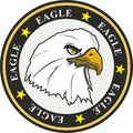 Eagle coat of arms with stars and circles Royalty Free Stock Photo