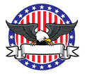 Eagle grip a ribbon with us flag as background vector of Stock Photo