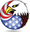 Eagle head and American flag Stock Photo