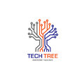 Eagle heads with circle logotech tree logo concept