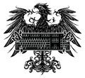 Eagle holding a keyboard heraldry style Royalty Free Stock Photo