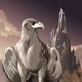 The eagle illustration of against foggy mountain gulch in dusk hours drawn in cartoon style Stock Image