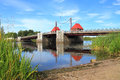 The eagle movable bridge restored with preservation of the ancient mechanism polessk kaliningrad region russia august in city Stock Image