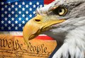 Eagle portrait closeup symbol usa or us stripes and stars flag Royalty Free Stock Photo