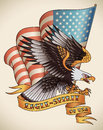 Eagle spirit old school tattoo bald attacking with the flag of usa on the background design editable vector illustration Stock Image