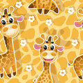 Eamless background with babies giraffes Stock Photo