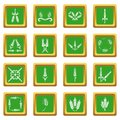 Ear corn icons set green square vector Royalty Free Stock Photo
