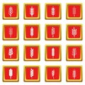 Ear corn icons set red