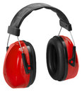 Ear protection a pair of red protectors in white back Stock Photo