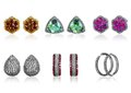 Ear rings six pairs of isolated decorated with precious stones Royalty Free Stock Images