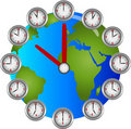 Earch Clock with clocks Circle hourly Stock Images