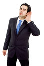 Earing young business man portrait in white background Stock Image