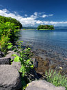 Early afternoon scene lake toya hokkaido japan scenic view of the lakeside along Royalty Free Stock Photos