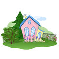 Early autumn house pink yellow in Royalty Free Stock Image