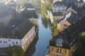 Early autumn morning in the luxembourg city center with fog Royalty Free Stock Photography