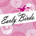 Early bird sale logo pink ornate with decorations and swirls ribbon in beak fancy lettering can be used in flyers and catalogs Stock Image