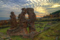 Early christian basilica in autumn near pirdop bulgaria it was built century ruins captured with amazing sunset and dramatic sky Royalty Free Stock Photos