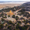 Early morning aerial view shwezigon buddhist temple ancient city bagan myanmar burma Royalty Free Stock Photography
