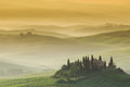 Early morning on countryside, San Quirico d´Orcia Royalty Free Stock Photos