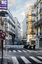 Early morning first rays of the sun touch the streets of paris france april on april in france Stock Photos