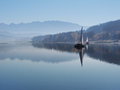 Early morning mist at Orava reservoir Royalty Free Stock Photo