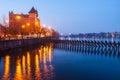 Embankment of the Vltava River and Sitkovska water tower, Prague, Czech Republic