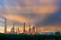 Early morning scene of oil refinery plant, twilight scene. Royalty Free Stock Photo