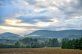 Early morning in south france with clouds and myst mountains Royalty Free Stock Photography