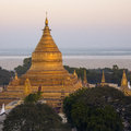 Early morning sunlight golden stupa shwezigon pagoda bagan myanmar burma Royalty Free Stock Photos