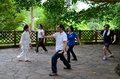Early morning tai chi exercise in park singapore may a group of singaporeans practice the art of a shaded spot at the singapore Stock Photo