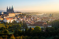 Early morning view of beautiful Prague city center Royalty Free Stock Photo