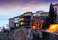 Early morning view at Hanging Houses in Cuenca Royalty Free Stock Photo
