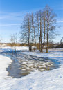 Early spring countryside of central russia kaluga region Royalty Free Stock Image