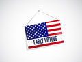 Early voting us flag banner illustration design over a white background Royalty Free Stock Photos