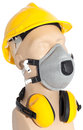 Earmuff dust respirator helmet and on mannequin with clipping paths Stock Photos
