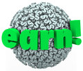 Earn dollar sign sphere making money work career income word in d letters on a ball or of signs or symbols to illustrate and Stock Photo