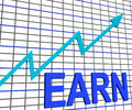 Earn graph chart shows increase earnings growing showing Royalty Free Stock Photo