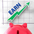 Earn graph means rising income gain and profits meaning Royalty Free Stock Photos