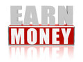 Earn money in red white banner - letters and block Royalty Free Stock Photo