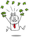 Earn money very happy man under a rain of cash Royalty Free Stock Photography