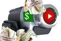 Earn money by your video online with videos concept uploading videos on social media Stock Image