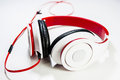 Earphone concept image of music to show by or headset on the white floor Stock Photo