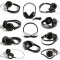 Earphones collection on the white background Royalty Free Stock Photo