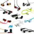 Earphones collection on the white background Royalty Free Stock Photography