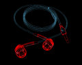 Earphones (3D xray red and blue transparent) Royalty Free Stock Photos