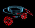 Earphones d xray red and blue transparent isolated on black background Stock Photos